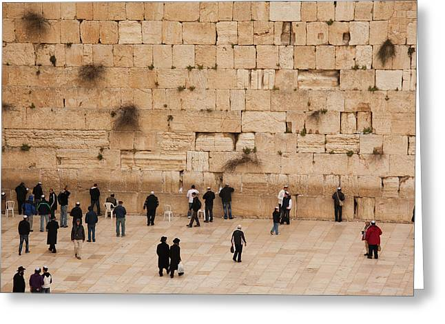 Elevated View Of The Western Wall Plaza Greeting Card