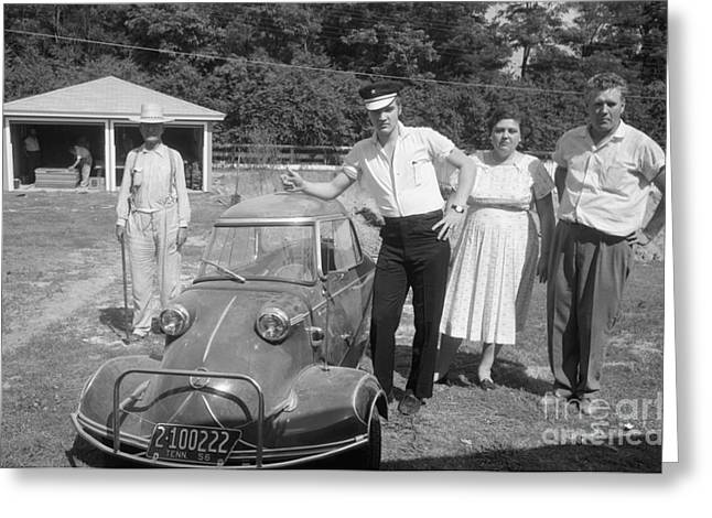 Elvis And His Messerschmitt With Vernon And Gladys Presley 1956 Greeting Card by The Harrington Collection