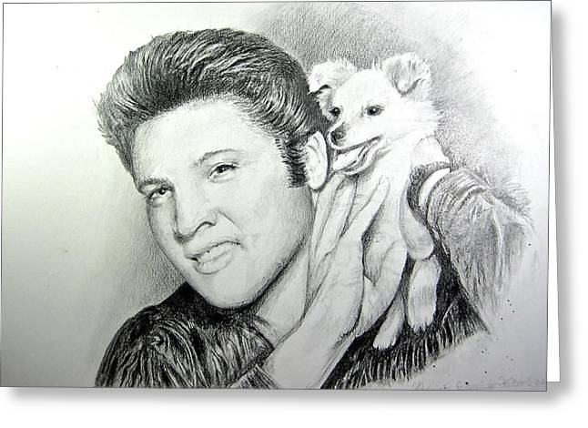 Greeting Card featuring the painting Elvis And Sweet Pea by Patricia Schneider Mitchell
