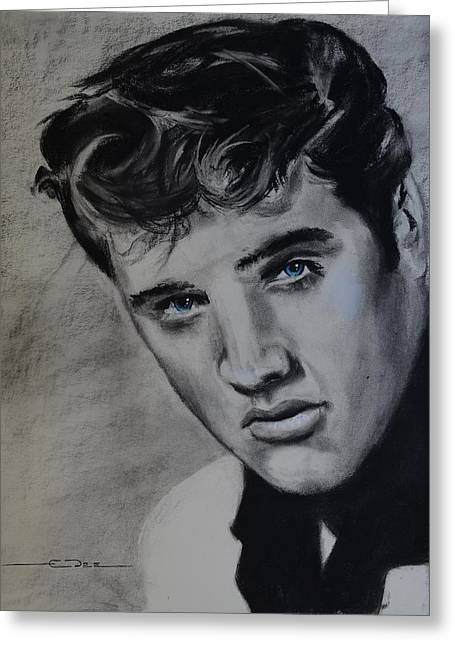 Greeting Card featuring the drawing Elvis Presley - America by Eric Dee
