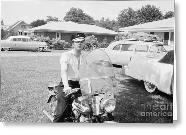 Elvis Presley Sitting On His 1956 Harley Kh Greeting Card