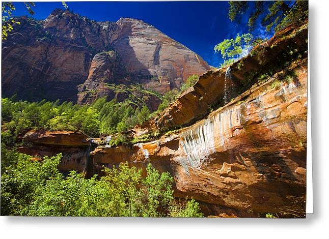 Emerald Pools Falls Zion Park Greeting Card