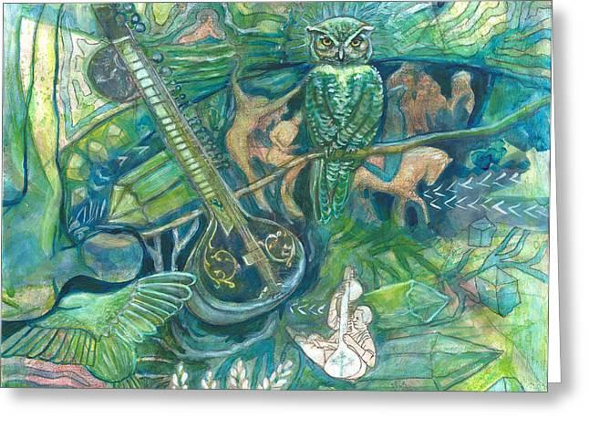 Emerald Wisdom Greeting Card by Elizabeth D'Angelo