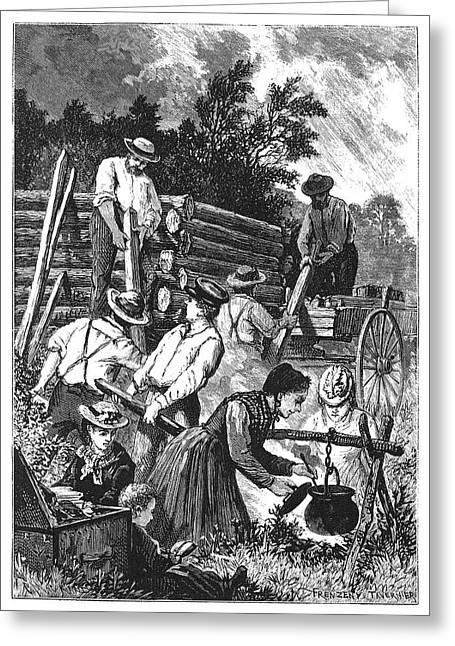 Emigrants Building Cabin Greeting Card