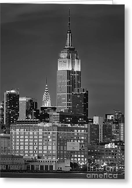 Empire And Chrysler Buildings Greeting Card by Jerry Fornarotto