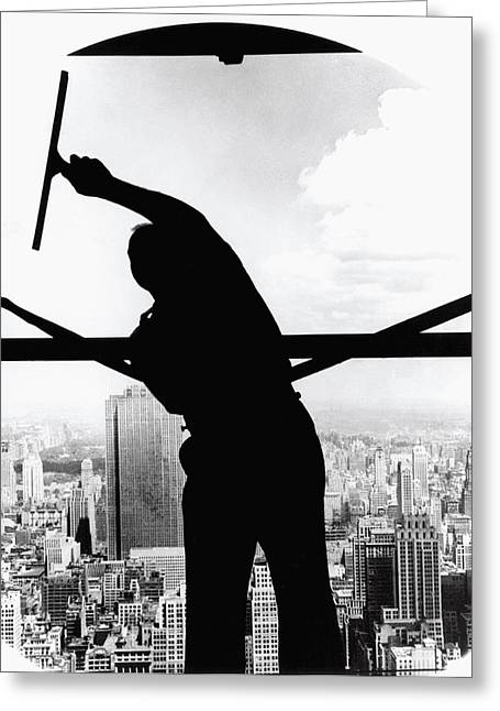 Empire State Window Washer Greeting Card by Underwood Archives