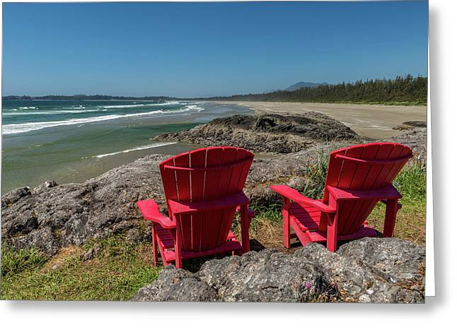 Empty Red Chairs At Coast, Pacific Rim Greeting Card