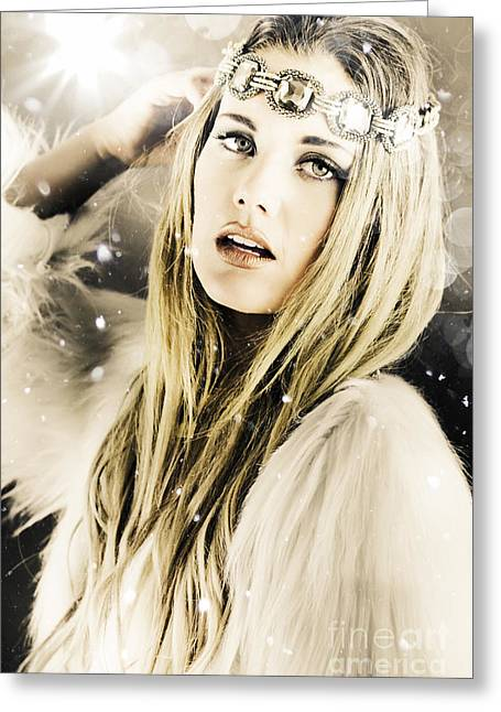 Enchanting Snow Princess Greeting Card by Jorgo Photography - Wall Art Gallery