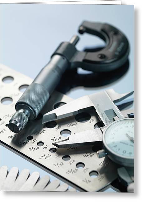 Engineering Measurement Tools Greeting Card by Tek Image