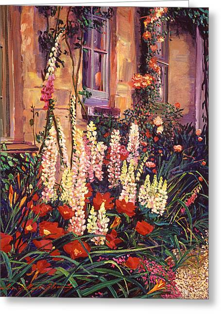 English Cottage Garden Greeting Card by David Lloyd Glover
