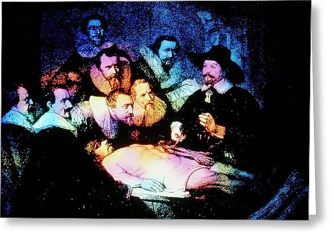 Engraving Of The Anatomy Lesson After Rembrandt Greeting Card