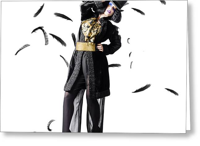 Entertainer Dancing Among Falling Feathers Greeting Card