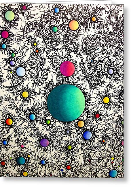 Greeting Card featuring the drawing Entropy Color Variation 6 by Devin  Cogger