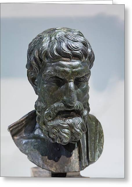 Epicurus Bust Greeting Card by Ken Welsh