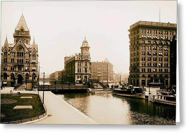 Erie Canal On Salina Street In Syracuse New York - Circa 1904 Greeting Card