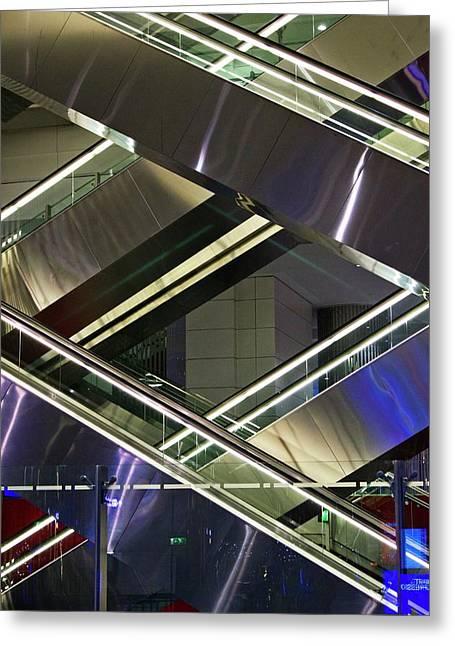 Escalators At Dubai Airport Greeting Card by Mark Williamson