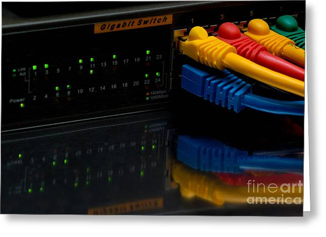Ethernet Cables Plugged Into Router Greeting Card by Amy Cicconi