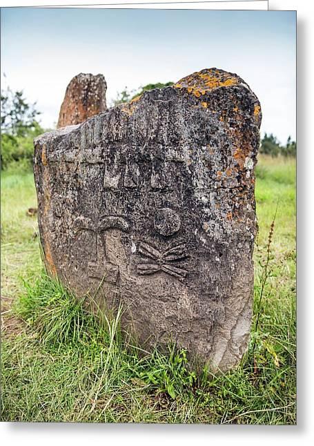 Ethiopian Stone Stele At Tiya Greeting Card by Peter J. Raymond