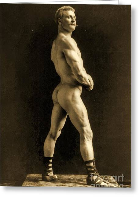 Eugen Sandow Greeting Card by Napoleon Sarony
