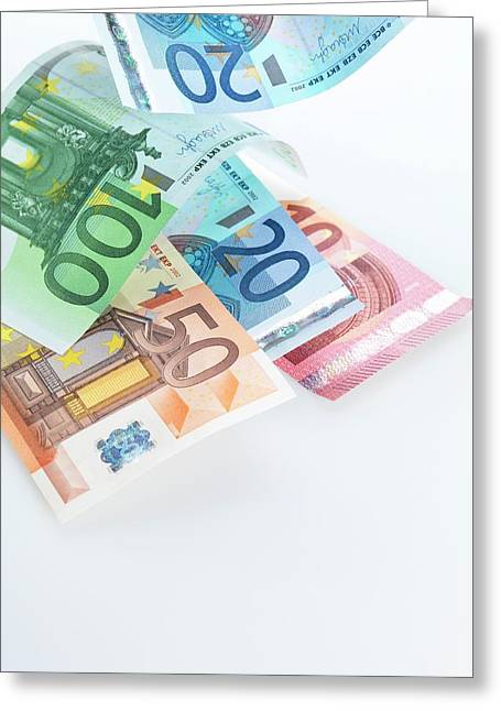 Euro Banknotes Greeting Card by Tek Image