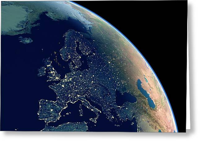 Europe At Night Greeting Card by Planetary Visions Ltd/science Photo Library