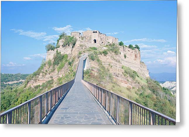Europe, Italy, Umbria, Civita, Bridge Greeting Card by Rob Tilley