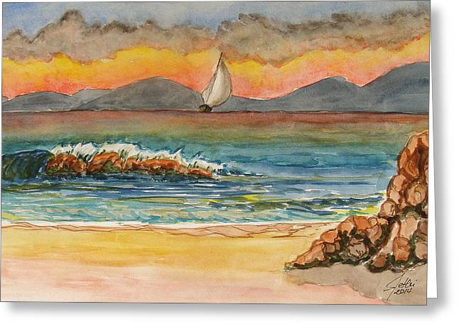 Evening In Beach Greeting Card by Fethi Canbaz