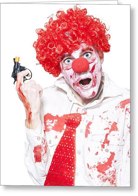Evil Clown Holding Cap Gun On White Background Greeting Card