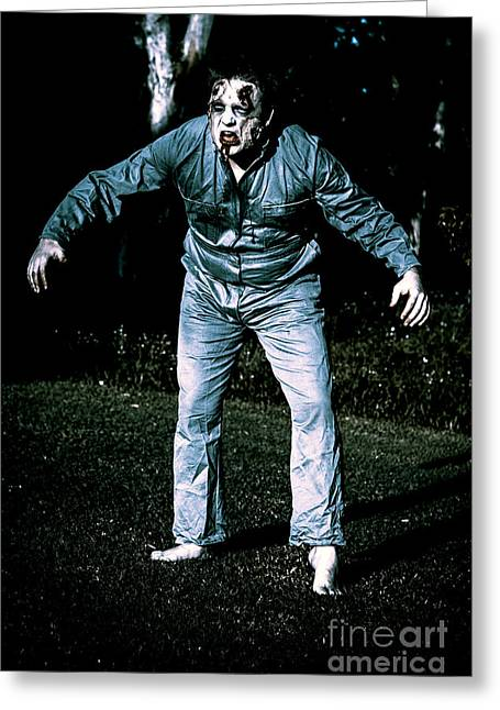 Evil Dead Horror Zombie Walking Undead In Cemetery Greeting Card by Jorgo Photography - Wall Art Gallery