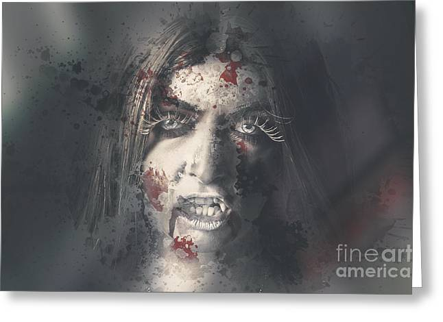 Evil Dead Vampire Woman Looking In Bloody Window Greeting Card by Jorgo Photography - Wall Art Gallery