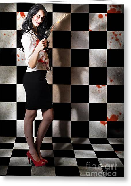 Evil Malicious Zombie Girl With Bloody Pruning Saw Greeting Card by Jorgo Photography - Wall Art Gallery