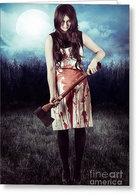Evil Woman Standing In Dark Field Carrying Axe Greeting Card