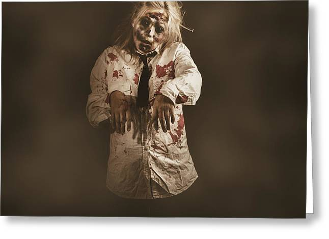 Evil Zombie Business Woman. Mindless Follower  Greeting Card by Jorgo Photography - Wall Art Gallery