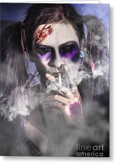Evil Zombie Schoolgirl Smoking Cigarette Greeting Card by Jorgo Photography - Wall Art Gallery