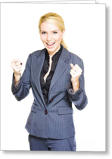 Excited Business Woman Greeting Card by Jorgo Photography - Wall Art Gallery