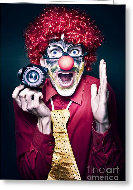 Excited Clown With Camera At Kids Birthday Party Greeting Card by Jorgo Photography - Wall Art Gallery