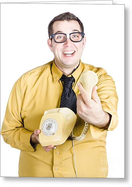Excited Man Handing Over Telephone Greeting Card by Jorgo Photography - Wall Art Gallery