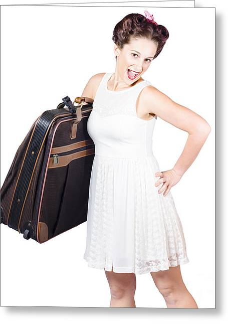 Excited Retro Backpacking Girl Holding Baggage Greeting Card by Jorgo Photography - Wall Art Gallery