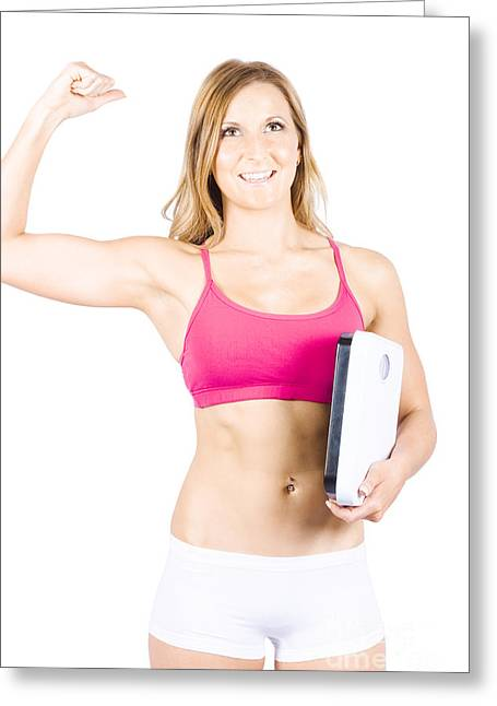 Excited Weight Loss Woman Over White Background Greeting Card