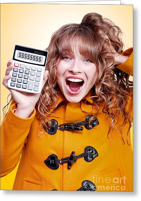 Excited Winter Woman Holding Savings Calculator Greeting Card by Jorgo Photography - Wall Art Gallery