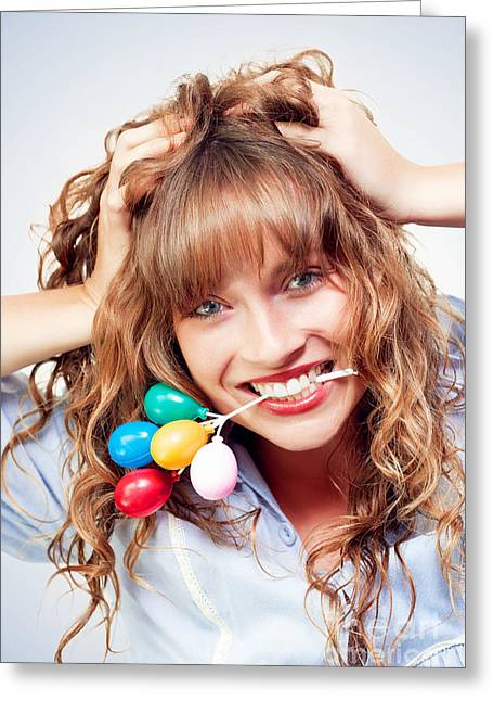 Excited Woman Enjoying Her Birthday Celebration Greeting Card