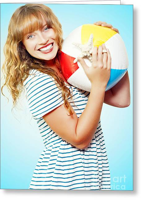 Excited Woman On A Fun Tropical Vacation Greeting Card by Jorgo Photography - Wall Art Gallery