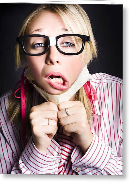 Exhausted Nerd Breaks Free From Silence Greeting Card by Jorgo Photography - Wall Art Gallery