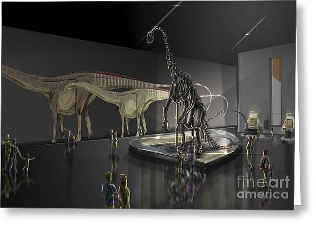 Exhibition Space Featuring Diplodocus Greeting Card by Alice Turner