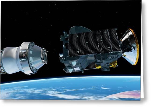 Exomars Spacecraft Deployment Greeting Card by European Space Agency/atg Medialab