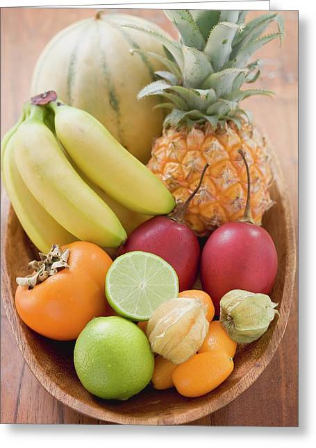 Exotic Fruit And Citrus Fruit In Wooden Bowl Greeting Card