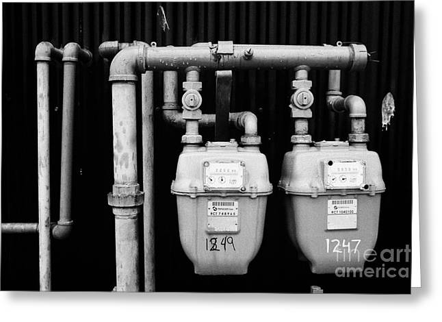 external gas meters on property Vancouver BC Canada Greeting Card by Joe Fox