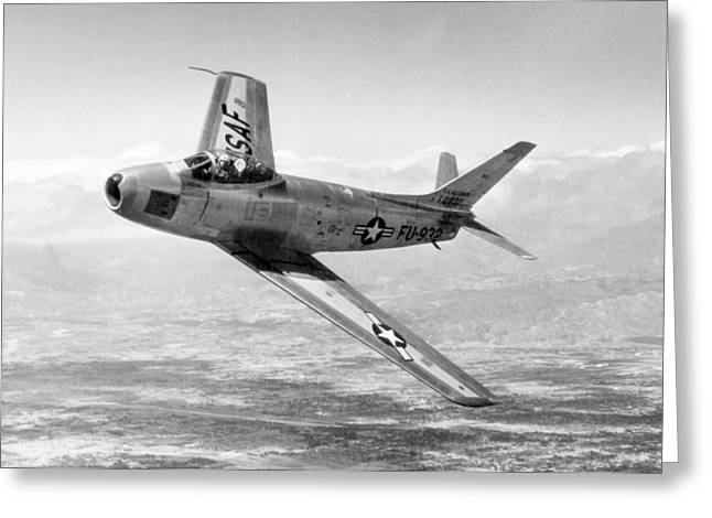 Greeting Card featuring the photograph F-86 Sabre, First Swept-wing Fighter by Science Source