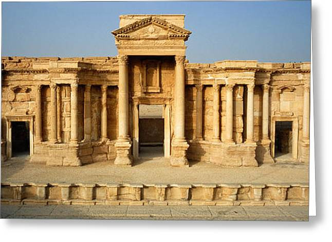 Facade Of A Building, Palmyra, Syria Greeting Card by Panoramic Images