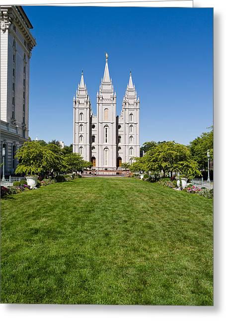 Facade Of A Church, Mormon Temple Greeting Card
